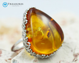 38Cts Baltic Amber Sale, Silver Ring - AM 1975