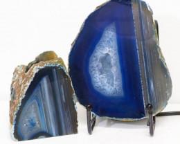 0.68kg Sliced Brazilian Crystal Agate Lamp&Tea Light Candle Holder J124