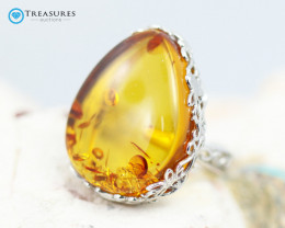 38Cts Baltic Amber Sale, Silver Ring - AM 1983
