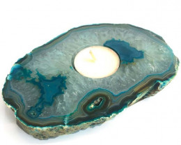Green Agate Tealight Candle Holder Flat