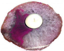 Pink Agate Tealight Candle Holder Flat