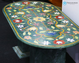 Pietra Dura Inlay Green Marble Table, detailed Floral Design 50kilo