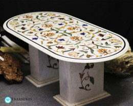 Pietra Dura Inlay White Marble Table, detailed Floral Design 50kilo
