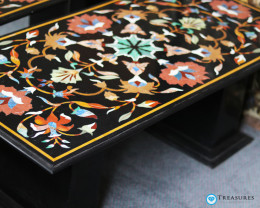 Pietra Dura Inlay Black Marble Table, detailed Floral Design 50kilo