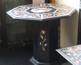 Pietra Dura Inlay Black Marble Table Top, detailed Floral Design 80kilo