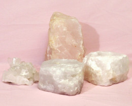 1.72kg Rose Quartz Crystal Lamp Set 4 pieces S385