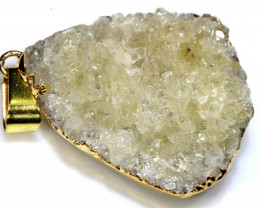 36.10 - CTS NATURAL CITRINE DRUSY PENDANT  RJA-108