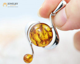 3Cts Baltic Amber Sale, Silver Pendant - AM 2070