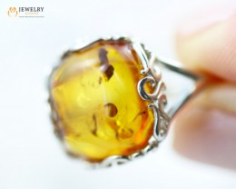 3Cts Baltic Amber Sale, Silver Ring size P  - AM 2082