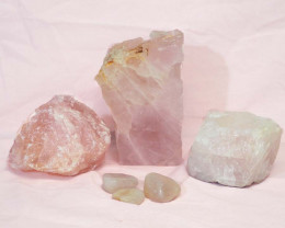 Divine Rose Quartz Crystal Set J290