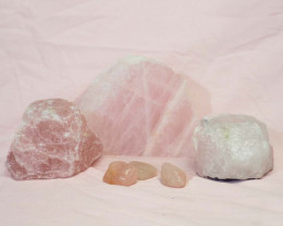 Divine Rose Quartz Crystal Set J292