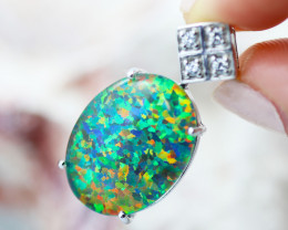 Man made Fire Opal Diamond shape Pendant GTJA 1023