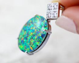 Man made Fire Opal Diamond shape Pendant GTJA 1024