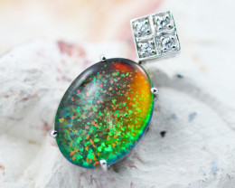 Man made Fire Opal Diamond shape Pendant GTJA 1027