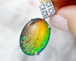 Man made Fire Opal Diamond shape Pendant GTJA 1028