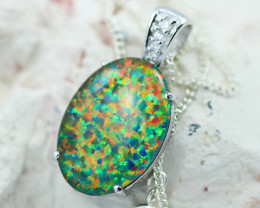 Large Man made Fire Opal  Pendant GTJA 1064