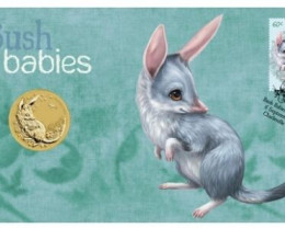 AUSTRALIAN BUSH BABIES  BILBY COIN N STAMP FOLDER 2011