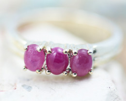Cute Cluster Ruby in silver Ring Size N GTJA 1110