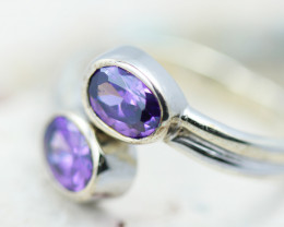 DUAL ADJUSTABLE AMETHYST SILVER RING SIZE T  - GTJA 1128
