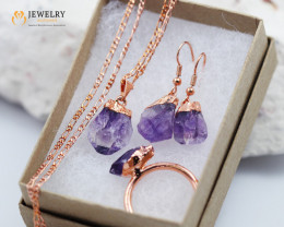 4 Piece Amethyst  Jewelry set $99 for $10.00  Ring Size X