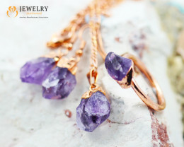 4 Piece Amethyst  Jewelry set $99 for $10.00  Ring Size U