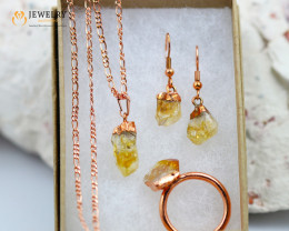 4 Piece Citrine Jewelry set $99 for $19.00  Ring Size Q