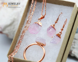 5 Piece Rose Quartz  Jewelry set $99 for $10.00  Ring SizeQ