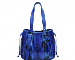 OSTRICH LEATHER BAG #blue