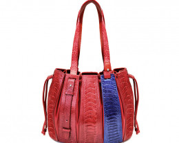 OSTRICH LEATHER BAG #RED& BLUE