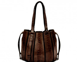 OSTRICH LEATHER BAG #CHOCOLATE