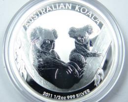 2011 AUSTRALIAN HALF OUNCE KOALA 99.9% PURE SILVER COIN