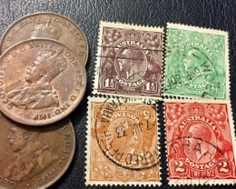 Parcel 3 One Penny coin plus  4 stamps J2606