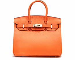 COW LEATHER SHOULDER HANDBAG [orange]