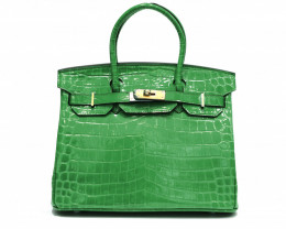 COW LEATHER SHOULDER HANDBAG [green crocodile print]
