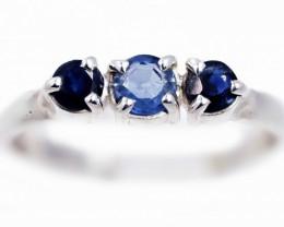 SIZE 7 BLUE AUSTRALIAN SAPPHIRES SET IN SILVER RING [SJ4551]