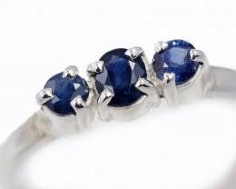 SIZE 9 BLUE AUSTRALIAN SAPPHIRES SET IN SILVER RING [SJ4512]