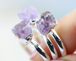 x3 Crown Chakra Amethyst Rings Size M - CH60