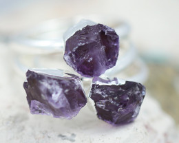 x3 Crown Chakra Amethyst Rings Size P - CH63