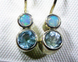 TOPAZ AND SOLID OPAL EARRINGS -FACORY DIRECT [SJ3060]