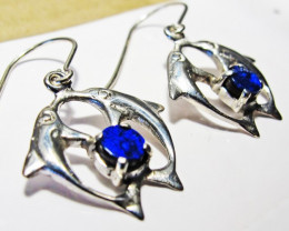 DOUBLET OPAL  SILVER EARRINGS DOLPHIN [SOJ3803]