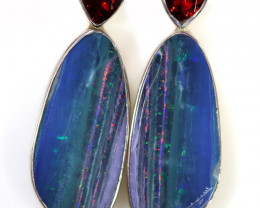 OPAL DOUBLET WITH GARNET SILVER EARRINGS  [SOJ6050]