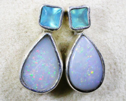 SOLID  OPAL EARRING+PARABIA CHALCENDONY -SILVER DIRECT [SOJ3027]