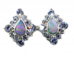 SOLID FIRE OPAL WITH C'Cs SILVER EARRINGS  -FACTORY DIRECT [SOJ3035]