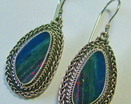 OPAL DOUBLET SILVER EARRINGS-FACTORY DIRECT [SOJ 2190 ]
