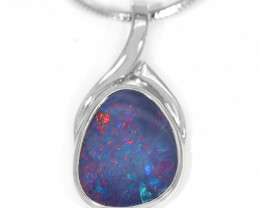 925 ST/ SILVER RHODIUM PLATED OPAL DOUBLET PENDANT [TP05]