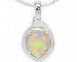 925 ST/ SILVER RHODIUM PLATED COOBER PEDY  OPAL PENDANT [TP08]