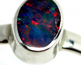 RING SIZE N OPAL  DOUBLET  SILVER RING FACTORY DIRECT [SOJ3956]