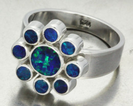 RING SIZE N  DOUBLET CLUSTER  SILVER RING -FACTORY DIRECT [SOJ1398]