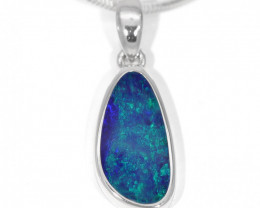 925 ST/ SILVER RHODIUM PLATED OPAL DOUBLET PENDANT [TP12]