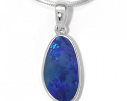 925 ST/ SILVER RHODIUM PLATED OPAL DOUBLET PENDANT [TP15 ]
